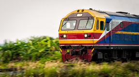 Thai train moving on track Royalty Free Stock Photo