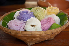 Colorful of Thai vermicelli eaten with curry Stock Photos