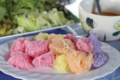 Colorful of Thai vermicelli eaten with curry and vegetables,kano. M jeen in phetchaboon thailand Royalty Free Stock Photography