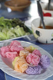 Colorful of Thai vermicelli eaten with curry and vegetables,kano. M jeen in phetchaboon thailand Royalty Free Stock Photos