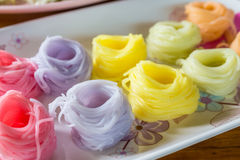 Colorful of Thai vermicelli, rice noodles eaten with curry. Royalty Free Stock Photos