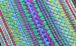Colorful Thailand Style Rug Surface Close Up Vintage Fabric Is Made Of Hand-woven Cotton Fabric More Of This Motif Stock Image