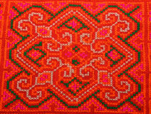 Colorful Thailand style rug surface close up vintage fabric is m. Ade of hand-woven cotton fabric Royalty Free Stock Photography