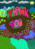 Colorful Thank You. Colorful Hand Doodle Style Thank You Royalty Free Stock Images