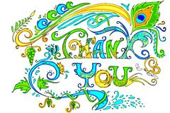 Colorful Thank You Card. Illustration of colorful doodle of thank you card Royalty Free Stock Photos