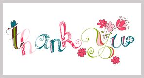 Colorful thank you hand lettering. Handmade calligraphy. Stock Photos