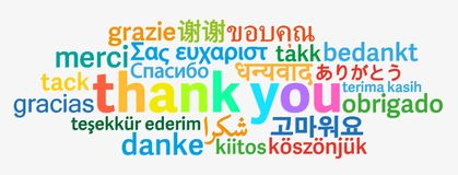 Colorful thank you word cloud in different languages. On light grey background vector illustration