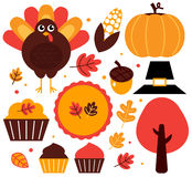 Colorful thanksgiving design elements. Thanksgiving items set. Vector Illustration Royalty Free Stock Photography