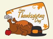 Colorful Thanksgiving Turkey, Pilgrim Hat and Apple, Vector Illustration Stock Image