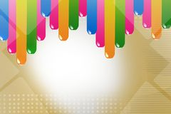 Colorful thick lines top side, abstract background Stock Photos