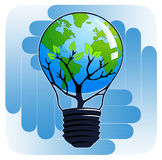 Colorful Think Green button. Think Green illustration on the blue hands background (square Stock Photography