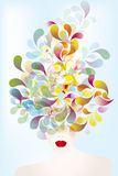 Colorful thoughts. Illustration of a face with colorful splashes - eps10 vectors vector illustration