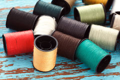 Colorful thread needlework embroidery tailor craft repair Stock Photo