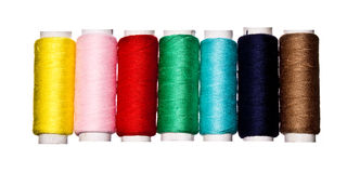 Colorful thread spools Stock Images