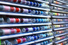 Colorful thread spools - horizontal rows Royalty Free Stock Image