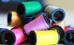 Colorful thread stacked Stock Photo