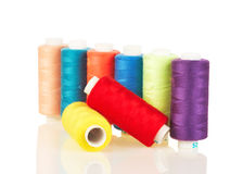 Colorful thread on white Royalty Free Stock Photo