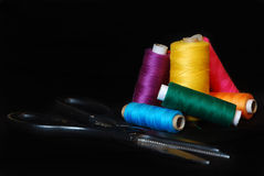 Colorful threads. On the black background,macro view Royalty Free Stock Images