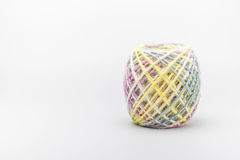 Colorful threads ball for knitting on a white background. Royalty Free Stock Image