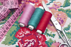 Colorful threads and canvas Stock Photos