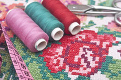 Colorful threads and canvas Stock Photography