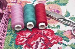 Colorful threads and canvas Royalty Free Stock Images