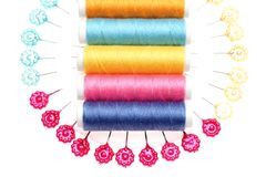 Colorful threads and pins Stock Image