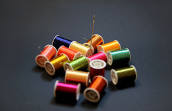Colorful threads. Threads in several metallic colors Royalty Free Stock Photos