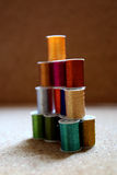Colorful threads. Threads in several metallic colors Stock Photo