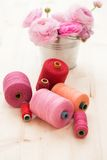Colorful threads on the table Royalty Free Stock Photography