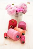Colorful threads on the table Royalty Free Stock Photo