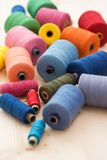 Colorful threads on the table Royalty Free Stock Photos