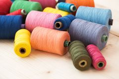 Colorful threads on the table Royalty Free Stock Image
