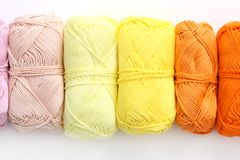 Colorful threads on the table Stock Photography