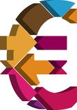 3d EURO symbol. Colorful three-dimensional EURO Symbol Royalty Free Stock Photo