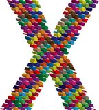 3d font letter X. Colorful three-dimensional font letter X Royalty Free Stock Photos