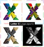 3d font letter X. Colorful three-dimensional font letter X Stock Photos