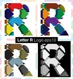 3d font letter R. Colorful three-dimensional font letter R Stock Photo