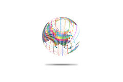 Colorful three-dimensional spherical map of the world, abstract vector background Royalty Free Stock Photos