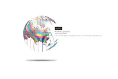 Colorful three-dimensional spherical map of the world, abstract vector background Royalty Free Stock Image