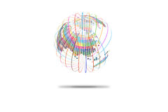 Colorful three-dimensional spherical map of the world, abstract vector background Royalty Free Stock Photography