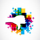 Colorful thumb dislike. Concept abstract background vector illustration
