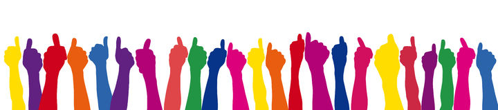 Colorful thumbs up in a row Royalty Free Stock Photography