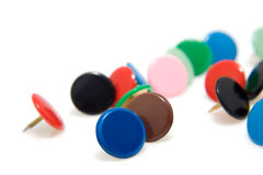 Colorful thumbtacks Stock Images