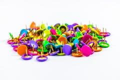 Colorful thumbtacks. On a white background Royalty Free Stock Photo