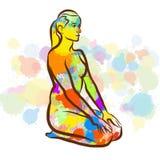 Colorful Thunderbolt Vajrasana Yoga Pose. Hand Drawn Vector Illustration, Splatter Color Isolated on White Background. Creative  Communication Concept Royalty Free Stock Photos