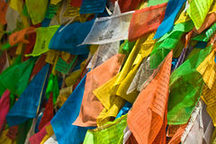 Colorful tibetan prayer flags Stock Photography
