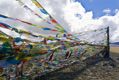 Colorful Tibetan prayer flags Stock Images