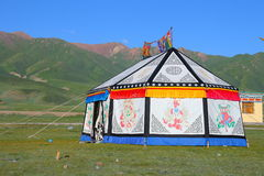 Colorful Tibetan tent on Tibetan Plateau Stock Images
