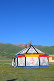 Colorful Tibetan tent on Tibetan Plateau Royalty Free Stock Image